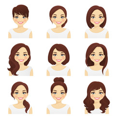 Woman with different hairstyles set vector illustration