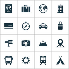 Traveling Icons Set. Collection Of Mount, Railway Carriage, Location And Other Elements. Also Includes Symbols Such As Mountain, Transport, Location.