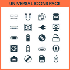 Hardware Icons Set. Collection Of Radio Set, Connected Devices, Control Device And Other Elements. Also Includes Symbols Such As Save, Network, Photocopy.