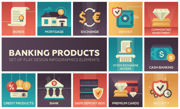 Banking products - set of flat design infographics elements