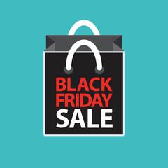 flat black friday sale shopping bag on blue