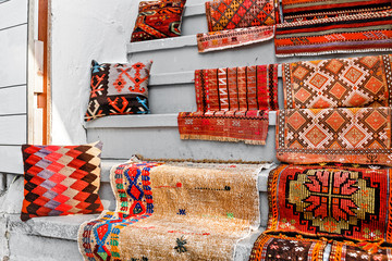 Many colorful carpets and carpet for sale in the store at Istanbul street