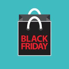 flat black friday shopping bag on blue