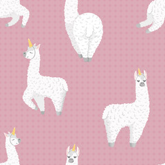 seamless pattern with cute cartoon lama alpaca with unicorn horn.polka dot seamless background.Vector Illustration.unique design for cards, posters,t-shirts,invitations. wrapping paper design