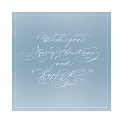New Year greeting card. Hand made lettering. Classic english script.