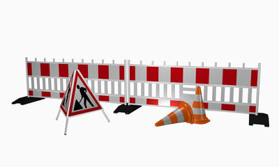 Absperrgitter mit Aufsteller für die Baustelle und Leitkegel