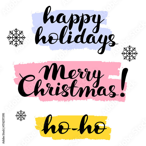 Merry Christmas Writing Clipart.Happy Holidays Merry Christmas Ho Ho Text Lettering Hand