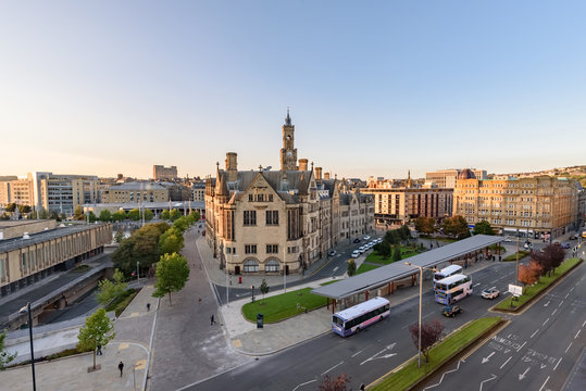 Aerial view Bradford City center UK
