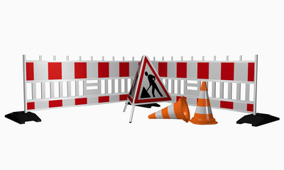 Absperrung für die Baustelle mit Warnaufsteller und Leitkegel