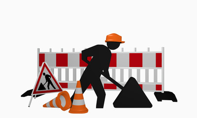 Construction site males with construction site sign and traffic cone, front view