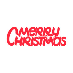 Hand drawn merry christmas on white background