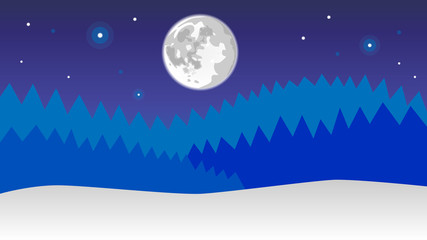 snowy landscape with forest , moon and stars