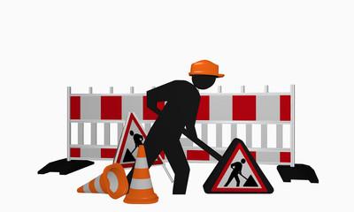 Baustellen-Männchen mit Sicherheitshelm, Aufsteller und Leitkegel für eine Baustelle
