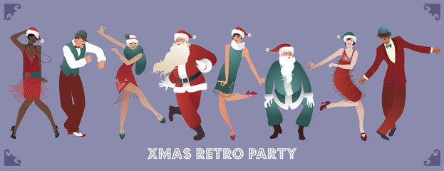Retro Christmas party. Group of four men and four girls wearing Santa Claus costumes and clothes of the 1920s, dancing charleston