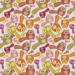 Crazy squirrel mess pattern. Pattern illustration of a Autumn kawaii mess of little cute squirrel with cat faces.  All this joy is needed for the celebration of Autumn's arrival.