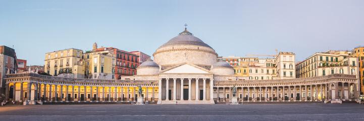 Fotobehang Napels Panorama of San Francesco di Paola in Naples