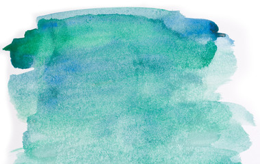 Watercolor background. water-stained spots. green and blue