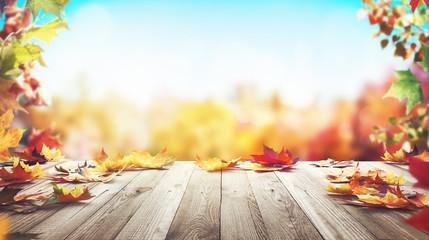 Autunno, sfondo con foglie e legno