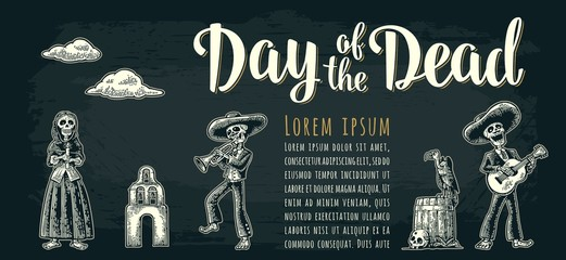 Horizontal poster for Dia de los Muertos. Day of the Dead lettering.