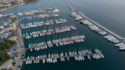 Aerial view of boats and yatches docked in marina