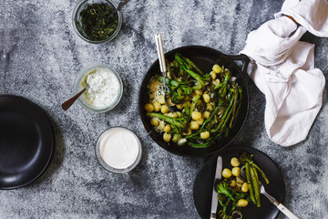 Gnocchi and broccolini serve up plates eating food concept