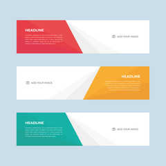 Set of minimalistic flat design web banners template for web site