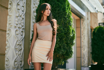 Cute and gorgeous latin women in fashion dress