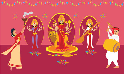 Couple performing Dhunuchi dance of Bengal for Durga Puja. Indian cultural festival celebration concept illustration vector.