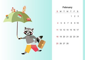 February. Colorful monthly calendar for 2018 with cute raccoon. Lovely page design for kids. Cartoon animal character and town on umbrella.