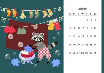 March. Colorful monthly calendar for 2018 with cute raccoon. Lovely page design for kids. Cartoon animal washes clothes.