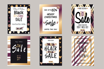 Collection of elegant shiny templates for Christmas sales. Typography poster, poster, banner, label. Vector templates for sale letters.