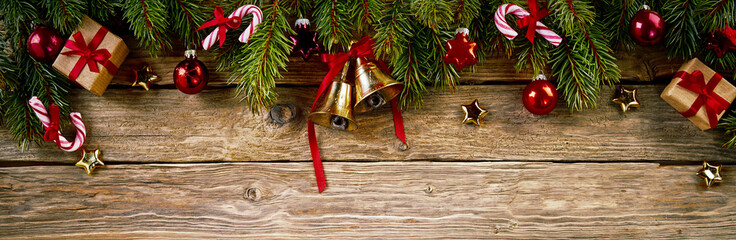 Christmas ornament against wooden background