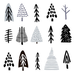 Collection christmas trees made with ink. Creative tree silhouette collection. Vector illustration