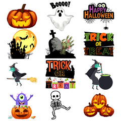 Halloween Trick or Treat Icons Illustration