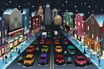 City Scene with Traffic at Night Illustration