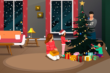 Happy Family Decorating Christmas Tree Illustration