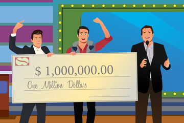 Game Show Winner Receiving Check Illustration