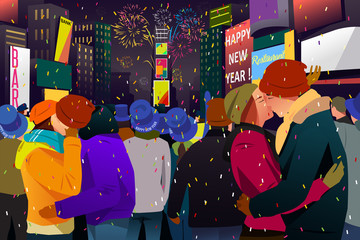 Couples Kissing During New Year Celebration Illustration