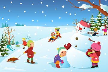 Children Playing Outside During Winter Illustration