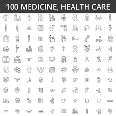 Medicine, doctor, health care, hospital, modern clinic, healthcare, cardiology, illness, ophthalmology, gynecology, medical therapyline icons, signs. Illustration, vector concept. Editable strokes