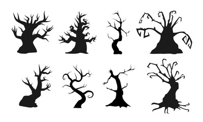 Spooky old trees with creepy shapes. Vector illustration. Perfect for scary or halloween compositions