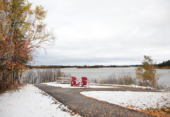 red chairs from Canada 150 overlook lake