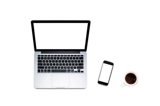 Top view, Working desk, computer, laptop with blank screen, smart phone, coffee, mug, glasses and notebooks on white background with clipping path.