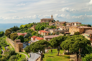 View of Montalcino town from the Fortress in Val d'Orcia, Tuscany, Italy