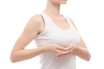 Female breast health breast specialist isolated