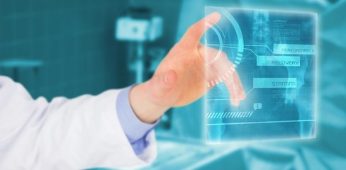 Composite image of cropped image of male doctor touching screen