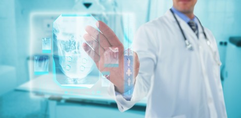 Composite image of doctor touching an digital screen 3d