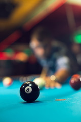 Pool ball on a pool table