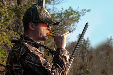 Hunter calling Ducks