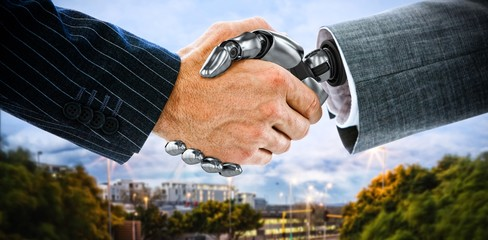 Composite image of cropped image of businessman shaking hand of